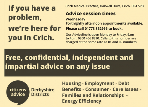 Citizens advice Crich call crich medical practice on 01773 852966 for appointments