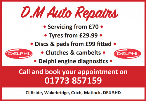 Advert for D.M. Auto Repairs