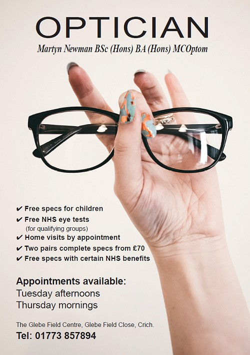 Advert for Martyn Newman Optician