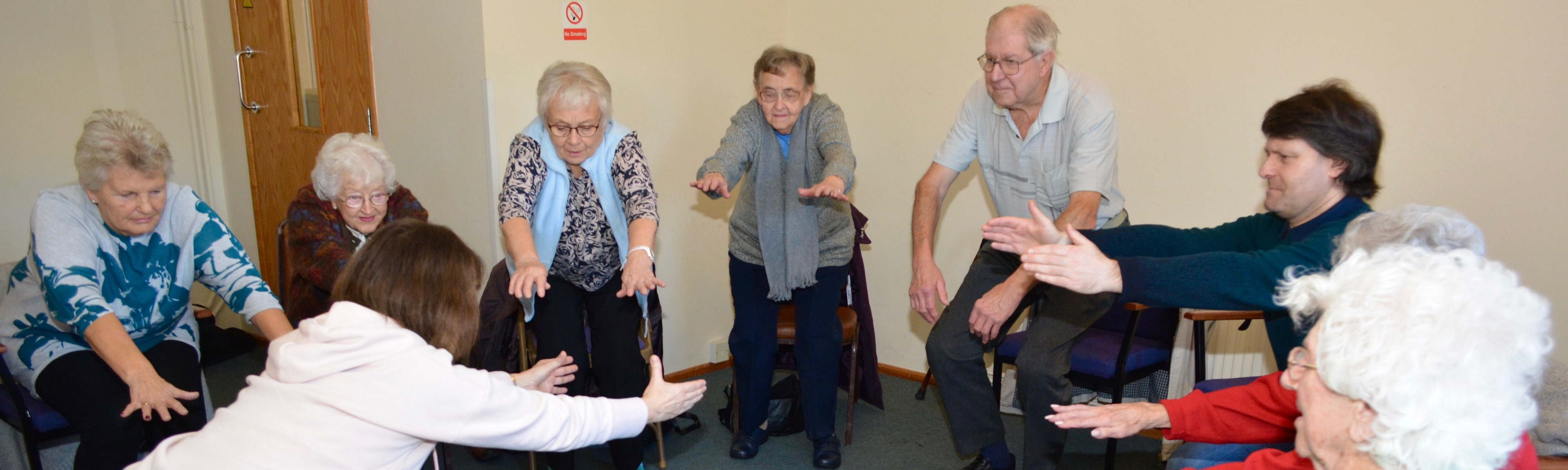 Seated yoga with Crich Area Dementia Friends by Paul Yorke