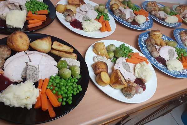 Christmas dinner, cooked by Dawn Harper for older people on their own for Christmas.