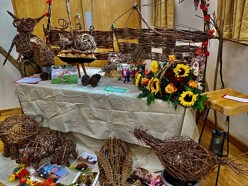 Display of willow-weaving at the Crich Area Community Art Sharing.