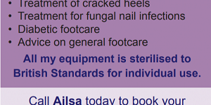 Advert for Footcare Services. Call 07769 030000