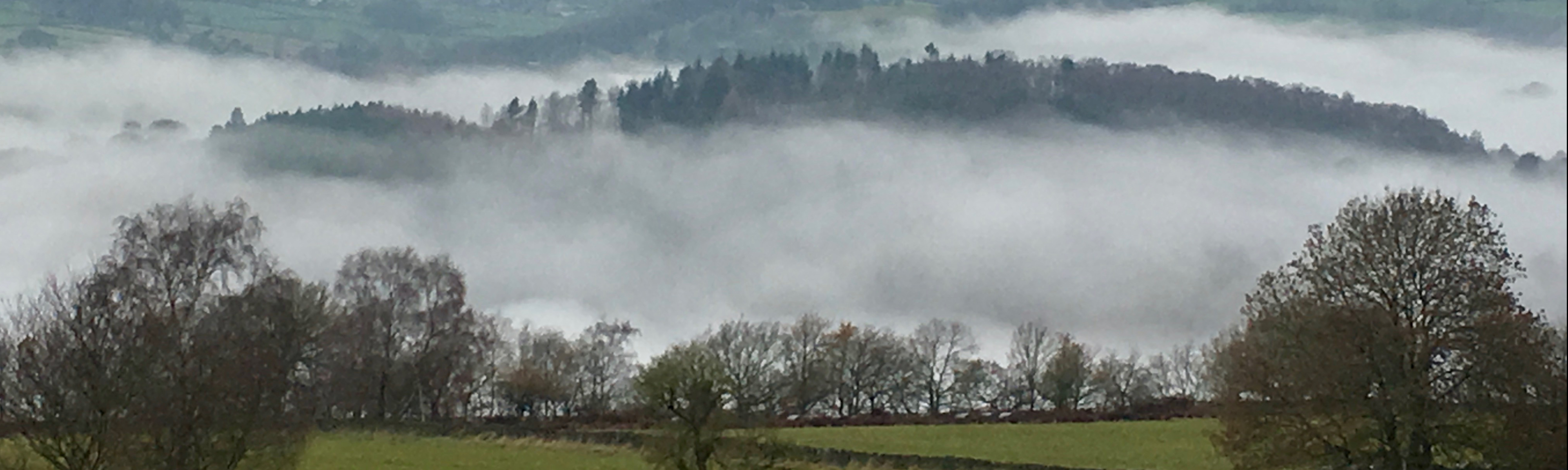View of Misty Derwent Valley from Chadwick Nick