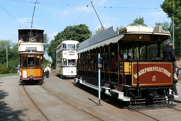 Three trams at Crich Tramway Village