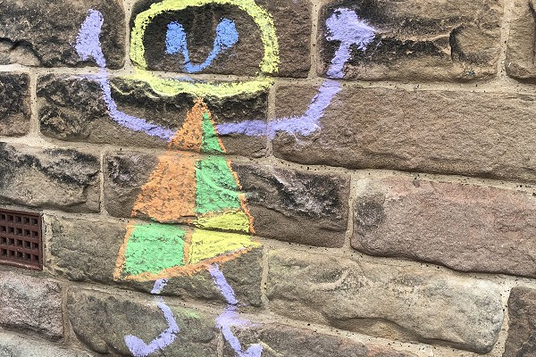 chalk drawing inspired by Joan Miro